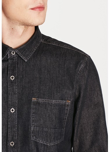 Mavi Tek Cepli Jean Gömlek Gri